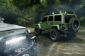 Картинка Off Road, Wrangler, Black, Cars, Jeep, Green, Rear, Jungle, Light, Rain
