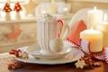 Картинка cream, holiday, свечи, праздник, Happy New Year, Merry Christmas, ribbon, печенье, крем, cup, лента, чашка, ...