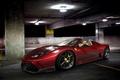 Картинка red, парковка, supercar, Ferrari, паркинг, ночь, car, машина, авто, night, Феррари, avto, Спайдер, красная, суперкар, ...