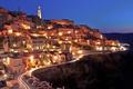 Картинка street, Matera, Italy, city, lights, sunset, houses, evening