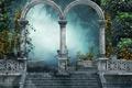 Картинка цветы, парк, туман, деревья, арка, art, настроение, ступени