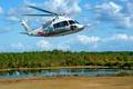 Картинка деревья, берега, S-76D, Sikorsky, многоцелевой, небо, вертолет, река