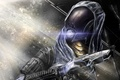 Картинка Tali Zorah, Mass Effect, девушка, трещины, шлем, пистолет