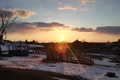 Картинка солнце, закат, в деревне