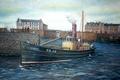 "Картинка холст, картина, масло, PD10 ""Золотой жезл"", рыбацкая гавань, сейнер, порт Peterhead, Шотландия"