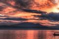 Картинка море, лодки, небо, горы, панорама, острова, облака