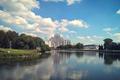 Картинка отражение, здание, природа, город, Минск, Беларусь, лето, река, центр