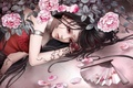 Картинка Девушка, веер, розы, лепестки, череп, тату, настроение