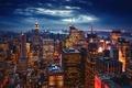 Картинка огни, вечер, Нью Йорк, Нью-Йорк, город, США
