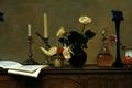 Картинка картина, свечи, графин, Анохин, живопись, розы, ноты, Цветы на фортепиано