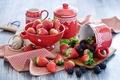 Картинка лето, ягоды, посуда, клубника, ежевика