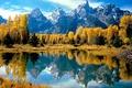 Картинка Горы, лес, деревья, осень, желтое, отражение, вода, озеро