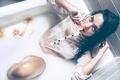 Картинка цитрусы, Ivan Mateos, ванна, девушка, мокрая