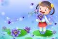 Картинка девочка, настроение, цветы, арт