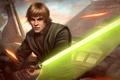 Картинка джедай, Luke Skywalker, лазерные лучи, Star Wars, световой меч