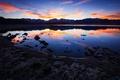 Картинка озеро, отражение, Калифорния, облака, горы