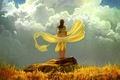 Картинка желтая, арт, ветер, девушка, камень, облака, небо, трава, осень, ткань