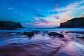 Картинка море, камни, вечер, небо, скалы, облака, закат