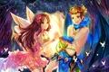 Картинка фея, крылья, арт, tonowa, природа, nowayout2012, деревья, парень, аниме, девушка, бабочки, лес
