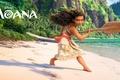 Картинка девочка, весло, Moana, берег, песок, мультфильм, Walt Disney Pictures, море, фэнтези, скалы, Моана, абориген