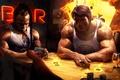 Картинка игра, покер, карты, Kai Greene, Arnold Schwarzenegger, Кай Грин, Арнольд Шварценеггер, Aрт