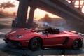 Картинка дорога, мост, гонка, занос, спорткар, Aventador J, need for speed most wanted 2012