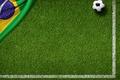 Картинка футбольное поле, мяч, 2014, трава, флаг бразилии, World Cup, football, green, flag, Brasil, FIFA, газон