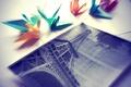 Картинка Эйфелева башня, журавлик, фотография