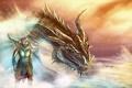 Картинка дракон, Skyrim, арт, раса, аргонианин, партурнакс, довакин