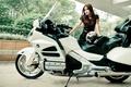 Картинка девушка, поза, мотоцикл