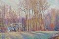 Картинка картина, Анри Лебаск, пейзаж, Poplars in Autumn near Chalifert