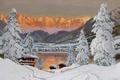 Картинка Альпы, домики, .Зимна, снег, горы, лед, туман, золотой, елка, Alois Arnegger, пейзаж, закат