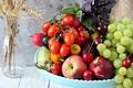 Картинка виноград, баклажан, перец, фрукты, овощи, помидоры, черешня, нектарин, редис, кабачок, базилик