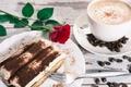 Картинка торт, cream, dessert, десерт, сладкое, tiramisu, тирамису, coffee, sweet, пирожное, rose