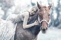 Картинка девушка, снег, Alessandro Di Cicco, Queen Maud, лошадь, сон