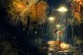 Картинка женщина, зонт, Дождь, фонарь, мужчина