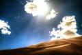 Картинка дюны, свет, барханы, небо, пустыня, облака, песок