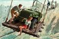 Картинка девушка, погоня, мужчина, переправа, Jeep, Willys MB, Mort Künstler