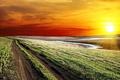 Картинка красочное, дорога, Sunset road, солнце, небо, горизонт, облака, закат