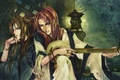 Картинка двое, музыкальный инструмент, wei liu, украшения, фонарь, art