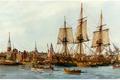 Картинка картина, корабли, пристань, painting, живопись, город