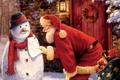 Картинка снеговик, мешок, записка, Дед Мороз