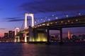 Картинка мегаполис, capital, освещение, фиолетовое, залив, огни, столица, вечер, башня, здания, фонари, облака, Tokyo, Japan, мост, ...