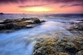 Картинка море, закат, берег, Камни