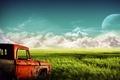 Картинка Поле, облака, грузовик