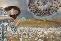 Картинка птицы, девушка, одуванчики