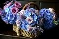 Картинка цветы, розовый, голубой, розы, корзинка, гортензия