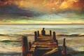 Картинка море, пирс, одиночество