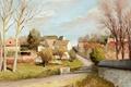 Картинка картина, Три тополя в Нофль-ле-Шато, пейзаж, Марсель Диф, дома, деревья, дорога