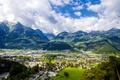Картинка горы, дома, Австрия, долина, панорама, городок, вид сверху, Muttersberg